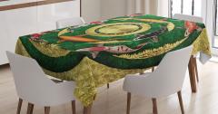 Balık Desenli Masa Örtüsü Altın Yeşil Şık Tasarım