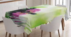 Bambu ve Çiçek Temalı Masa Örtüsü Su Yeşil Siyah Şık