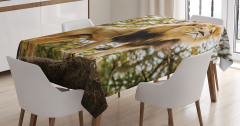 Aslan Portreli Masa Örtüsü Ağaç Kahverengi Yeşil