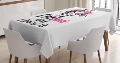 Zürafa Desenli Masa Örtüsü Siyah Beyaz Pembe Şık