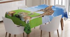 Zürafa ve Antilop Temalı Masa Örtüsü Mavi Yeşil
