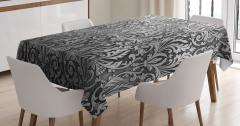 Gri Siyah Çiçek Desenli Masa Örtüsü Gümüş Trend