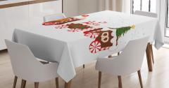 Noel Treni Desenli Masa Örtüsü Kırmızı Şeker Çörek