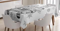 Noel Arabası Desenli Masa Örtüsü Siyah Beyaz Hediye