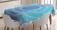 Şık Çiçek Desenli Masa Örtüsü Mavi Beyaz Çeyizlik