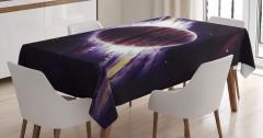 Mor Gezegen Desenli Masa Örtüsü Uzay Temalı Şık