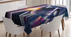 Uzay Temalı Masa Örtüsü Mor Şık Tasarım Gezegen