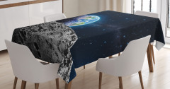 Dünya ve Ay Desenli Masa Örtüsü Uzay Temalı Gri Şık