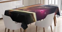 Uzay Temalı Masa Örtüsü Galaksi Gezegen Şık Tasarım