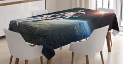 Dünya ve Astronot Temalı Masa Örtüsü Uzay Trend