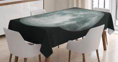 Ay Manzaralı Masa Örtüsü 3D Gri Siyah Uzay Trend