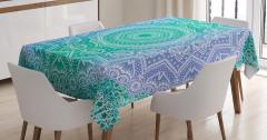Çiçek Desenli Masa Örtüsü Mavi Yeşil Beyaz Trend
