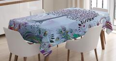 Mavi Ağaç Desenli Masa Örtüsü Şık Tasarım Trend