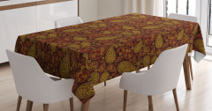 Şal Desenli Masa Örtüsü Kahverengi Çiçek Motifli