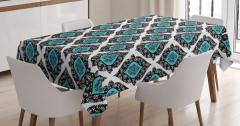 Duvar Kağıdı Temalı Masa Örtüsü Mavi Beyaz Siyah