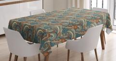 Şal Desenli Masa Örtüsü Yeşil Çiçekli Şık Tasarım