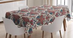 Çiçek Desenli Masa Örtüsü Pembe Mavi Şık Tasarım Şal