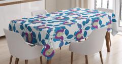 Çiçek Desenli Masa Örtüsü Şal Mavi Mor Şık Tasarım