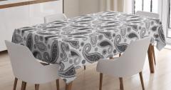 Gri Şal Desenli Masa Örtüsü Çiçekli Şık Tasarım