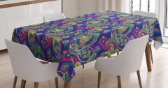 Şal Desenli Masa Örtüsü Lacivert Yeşil Çiçekli Şık