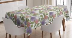 Pembe ve Mor Çiçekli Masa Örtüsü Yeşil Şık Tasarım