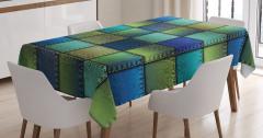 Mavi Yeşil Kare Desenli Masa Örtüsü Yama Etkili Şık