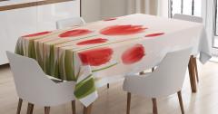 Kırmızı Lale Desenli Masa Örtüsü Çeyizlik Trend Şık