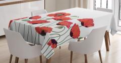 Kırmızı Gelincik Desenli Masa Örtüsü Çiçek Çeyizlik