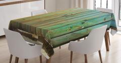 Yeşil Ahşap Kapı Temalı Masa Örtüsü Nostaljik Şık