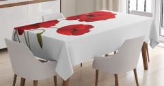 Kırmızı Çiçek Desenli Masa Örtüsü Çeyizlik Trend Şık