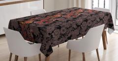 Kırmızı Çiçek Desenli Masa Örtüsü Kahverengi Şık