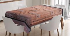Nostaljik Ahşap Kapı Temalı Masa Örtüsü Kahverengi