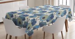 Nostaljik Çiçek Desenli Masa Örtüsü Mavi Şık Tasarım