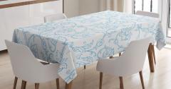 Mavi Çiçek Desenli Masa Örtüsü Beyaz Şık Tasarım