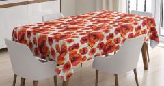 Kırmızı Gelincik Desenli Masa Örtüsü Beyaz Çiçek Şık