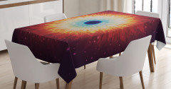 Uzay Temalı Masa Örtüsü Yıldız Kara Delik Turuncu