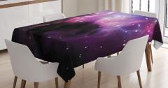 Bulutsu ve Yıldız Temalı Masa Örtüsü Mor Uzay Kozmos