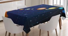 Güneş Sistemi Temalı Masa Örtüsü Uzay Lacivert Evren