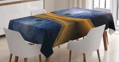 Yıldızlar ve Gökyüzü Temalı Masa Örtüsü Göl Lacivert