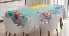 Güneş Sistemi Temalı Masa Örtüsü Çocuk İçin Mavi