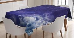 Gökyüzü ve Yıldız Temalı Masa Örtüsü Lacivert Uzay