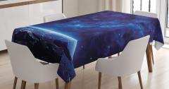 Uzay Temalı Masa Örtüsü Lacivert Yıldız Dünya Gece