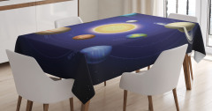 Güneş Sistemi Temalı Masa Örtüsü Uzay Şık Tasarım