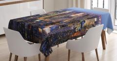 New York Manzaralı Masa Örtüsü Gökdelen Mavi Şık