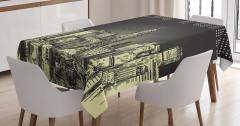 New York Temalı Masa Örtüsü Siyah Gri Şık Tasarım