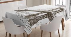 Köprü Desenli Masa Örtüsü El Çizimi Şık Tasarım