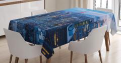 New York Manzaralı Masa Örtüsü Mavi Şık Tasarım
