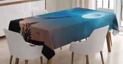 Ay'a Atlayan Kedi Temalı Masa Örtüsü Mavi Yıldız Şık
