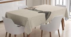 Kedi Desenli Masa Örtüsü Bej Trend Şık Tasarım Çizim