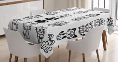 Sevimli Kedi Temalı Masa Örtüsü Elle Çizim Şık Siyah